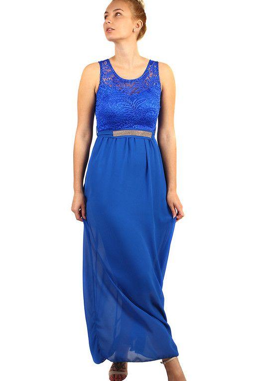 0224d6c2df84 Dlouhé večerní šaty s krajkovým vrškem