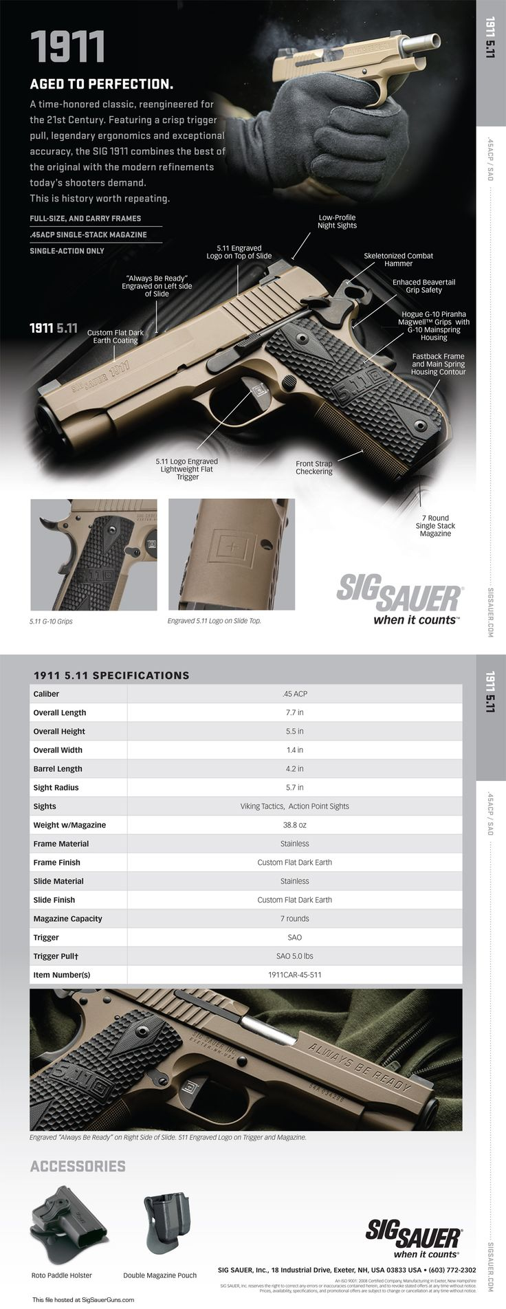 Sig 1911 5.11 Tactical Pistol Sell Sheet