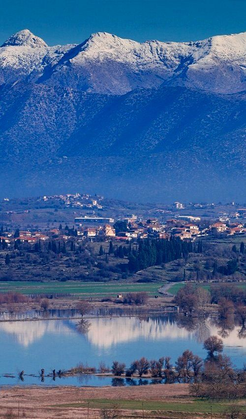 Vouno village over Taka lake ~ Tegea, Arcadia, Greece   by ARCADIAimages