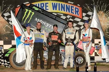 Shane Stewart (centre) won the Sprintcar A Main from Ben Atkinson (left) and Jamie Veal at Sydney Speedway on 15 December, 2012. Gary Reid photos