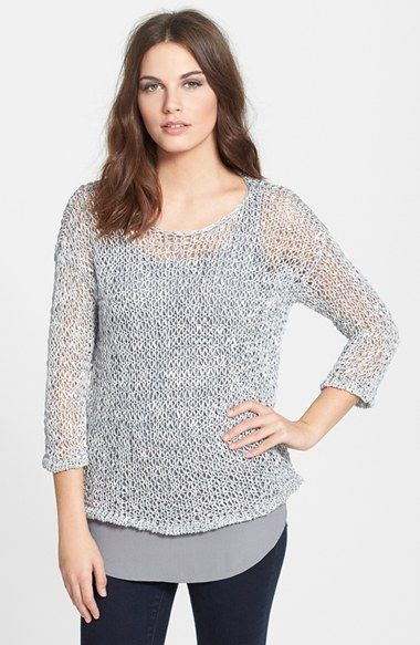 Eileen Fisher Bateau Neck Open Stitch sweater available at #Nordstrom