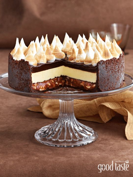 TRIPLE-CHOC CHEESECAKE WITH SALTED PEANUT CARAMEL ~ recipe Michelle Southan ~ pic Brett Stevens. This needs a Thermomix conversion asap