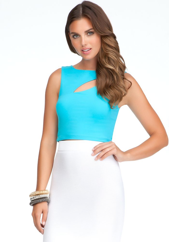 With sexy asymmetric cutout, high neckline and ultra-sexy cropped ...