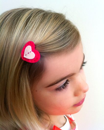 Molly's Sketchbook: Valentine HeartBarrettes - Knitting Crochet Sewing Crafts Patterns and Ideas! - the purl bee