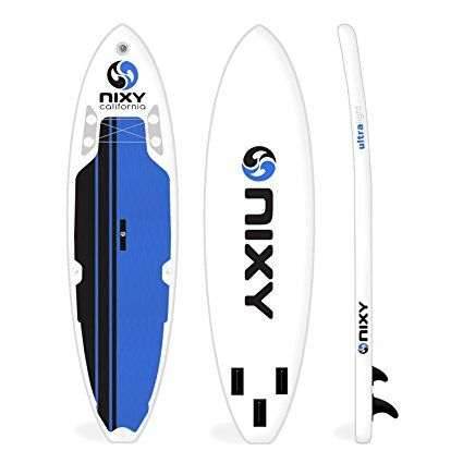 "Amazon.com : NIXY All Around Inflatable Stand Up Paddle Board Package. Ultra Light 10'6"" Newport Blue & White Paddle Board Built with Advanced Fusion Laminated Dropstitch Technology and 2 YR Warranty : Sports & Outdoors"