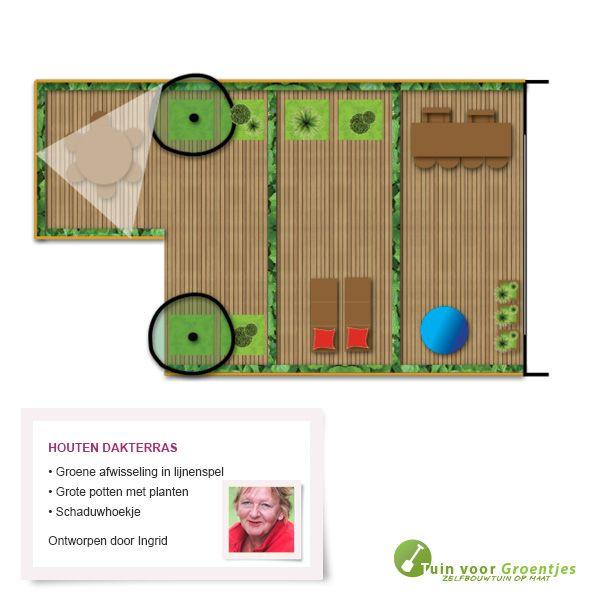 Houten dakterras, getekend door onze tuinontwerper Ingeborg Hovind.