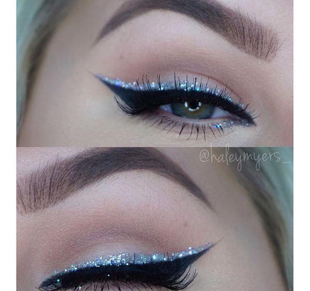Silver glitter eyeliner