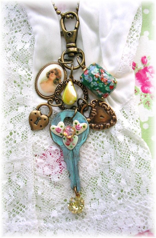 Purse Fob Bag Charm~Victorian Style~Cameo~Guilloche~Flowers~Roses Heart Locks~Patina~Shabby Chic~Crystal Beads Yellow~Opal~Necklace~Handbag