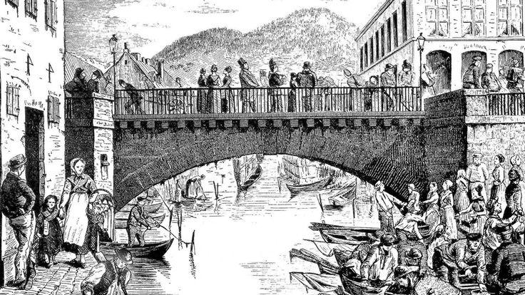 Den travle bro til synden - Christianias økte folketall og en fiskebrygge rett ved gjorde Vaterland bro til et meget livlig strøk utover på 1800-tallet (trykk fra 1870).