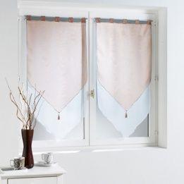 Paio di tende trasparenti (45 x H120 cm) Bicolore Tortora