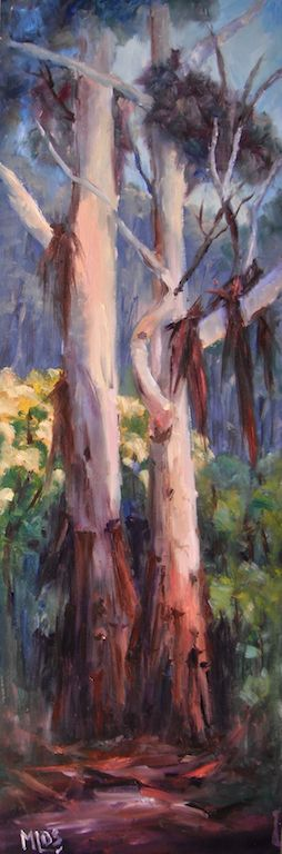 'Day 26 Tall Gums and Wattle' I painted this on a tall skinny board to emphasize the height of the gum trees. The Wattle flowering nearby was moved into the painting. I love the colours of the Wattle and the creamy tree trunks along with the peeling shreds of bark caught in all the branch forks.