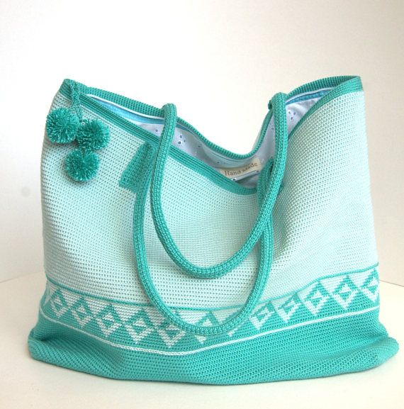 Crochet shoulder bag  Original azure / blue handbag  Crochet