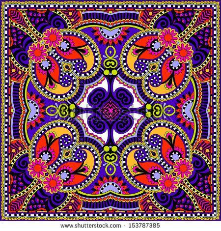 Traditional ornamental floral paisley bandanna. You can use this pattern in the design of carpet, shawl, pillow, cushion by karakotsya, via ...