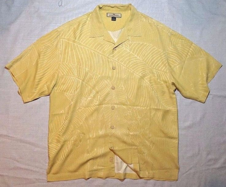 TOMMY BAHAMA 100% Silk Men's Hawaiian  Button Down Front Yellow Floral Shirt  L #TommyBahama #ButtonFront
