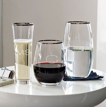 Platinum Rimmed Glassware modern cups and glassware