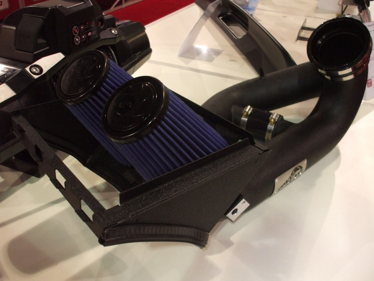The aFe Power Stage 2 Intake for 2012 Ford F-150 Ecoboost outflows the stock system by 44%, yielding up to 32 additional horsepower in the process. #SEMAShow