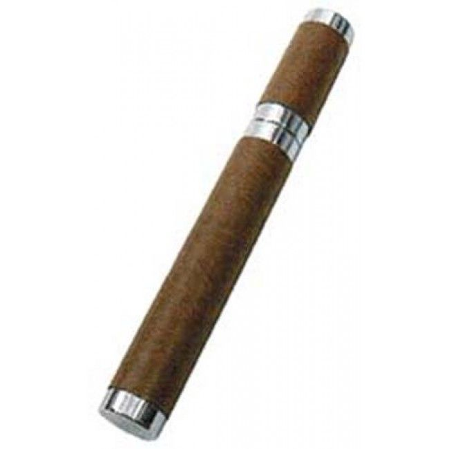 Leather Wrapped Single Stainless Steel Cigar Tube-CT-3200-01