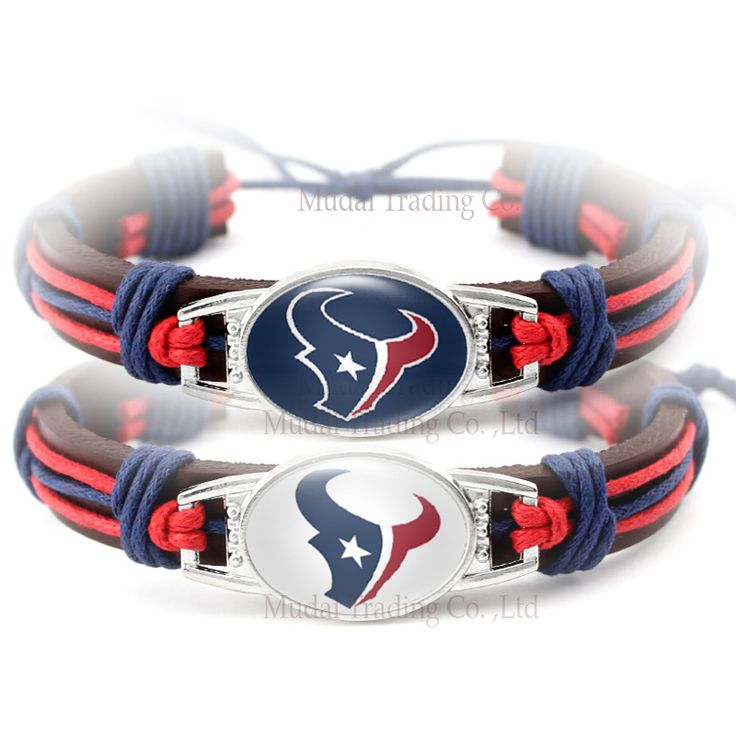(10 pieces/lot) Adjustable Houston Leather Cuff Texans Bracelet for Football Fan Casual Football Team Wristband Bangle Jewelry