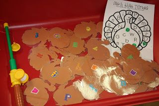 Mrs. Lee's Kindergarten: This center was a HIT!  They caught the turkey with a fishing pole and then bingo dotted the matching letter. Teacher Tip:  Instead of paper clips which always get pulled off from the fishing pole, just simply staple the corner of the game piece and it works perfect!  Easy peasy, lemon squeezy