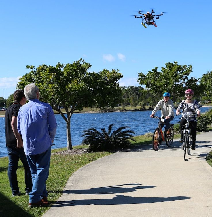 The video drone up in the air and ready to shoot
