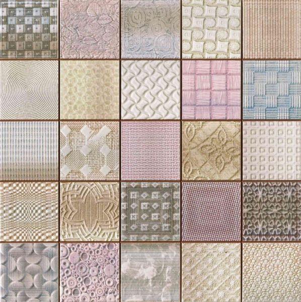 Multicoloured Patchwork Mosaic Effect Tiles 33x33