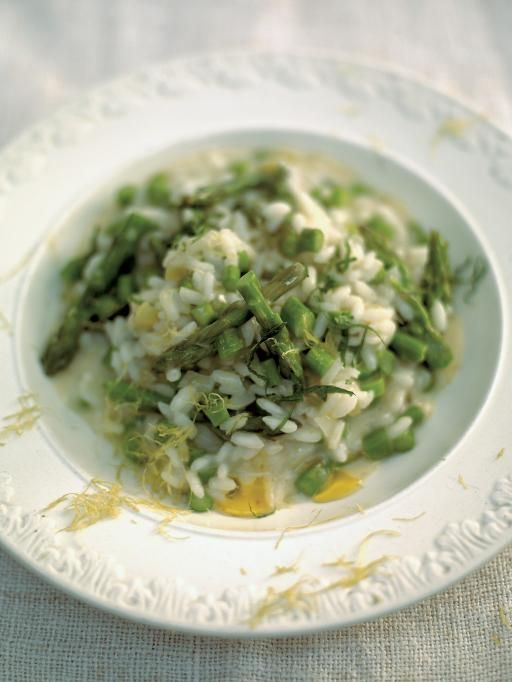 asparagus, mint & lemon risotto | Jamie Oliver  The recipe is rather convoluted. Basically, just chuck the asparagus in about half way through.