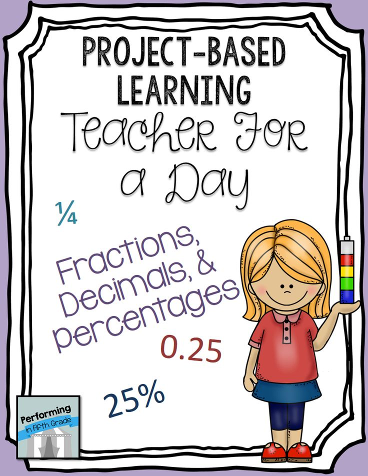 FREE Project-based Learning Activity for fraction, decimal, percent practice: Teacher for a Day (5th and 6th grade) #PBL