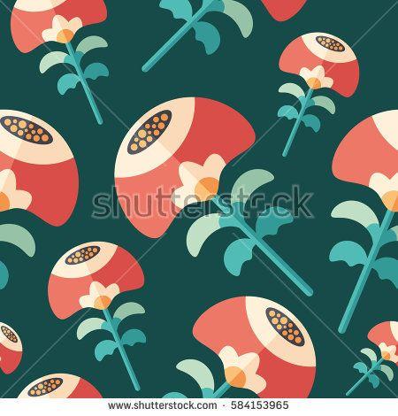 Summer flowers flat icon seamless pattern. #flowerpattern #vectorpattern #patterndesign #seamlesspattern