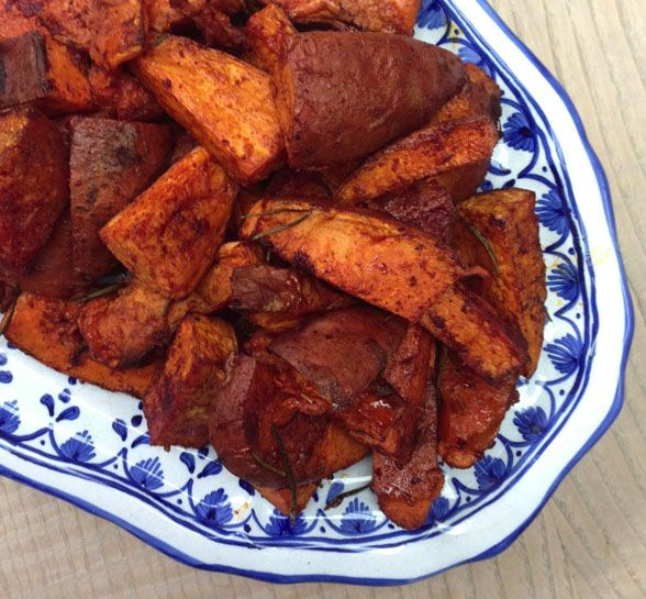 Baked sweet potato wedges with rosemary, cinnamon & paprika