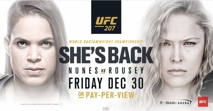 UFC 207  would like inform you an upcoming mixed martial arts event called UFC 207 Nunes vs Rousey that wil be held on December 30, 2016 by the Ultimate Fighting Championship at T-Mobile Arena in Las Vegas, Nevada.