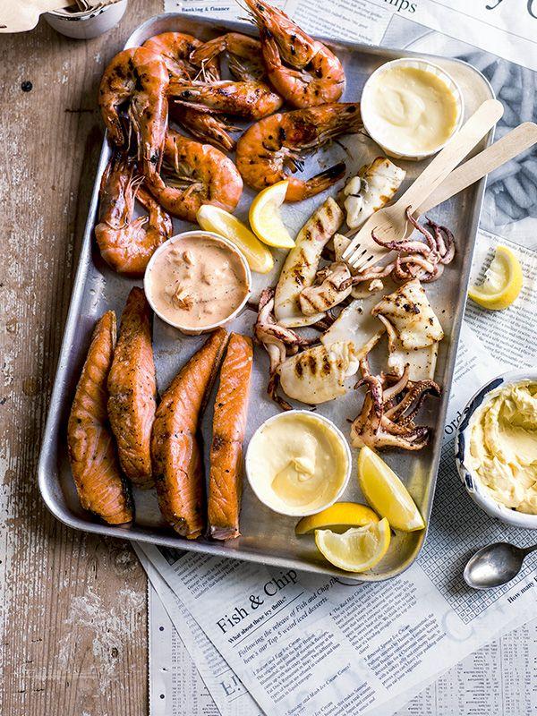 Seafood Fry with Miso Butter, Yuzu Hollandaise, and Kimchi Mayo : olivemagazine