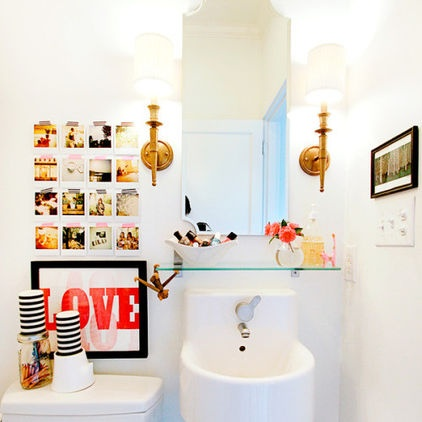 Tiny Bathroom By Anna Beth Chao Could Do W Out The Artwork But Love The Sink Glass Shelf Mirror Sconce Combo