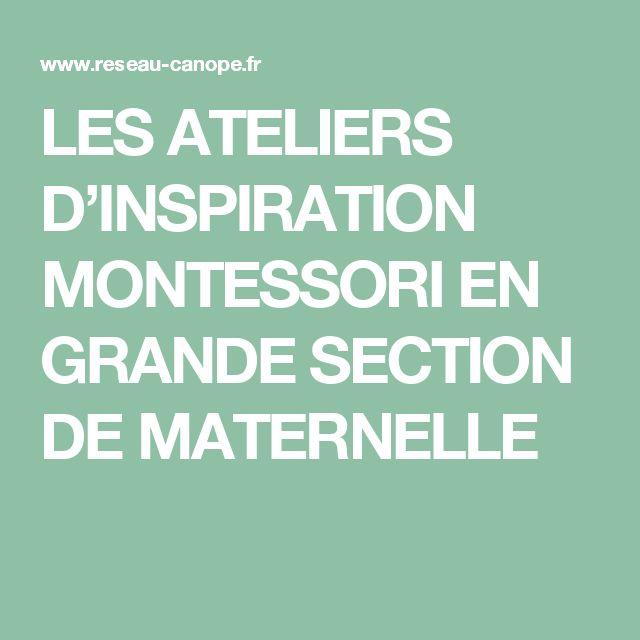LES ATELIERS D'INSPIRATION MONTESSORI EN GRANDE SECTION DE MATERNELLE
