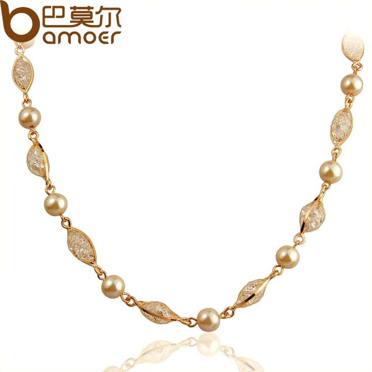 6.77$  Watch now - BAMOER Imitation Pearl Chain Necklace For Women Engagement  Rose Gold Color Zircon Crystal High Quality Jewelry JSN049   #shopstyle