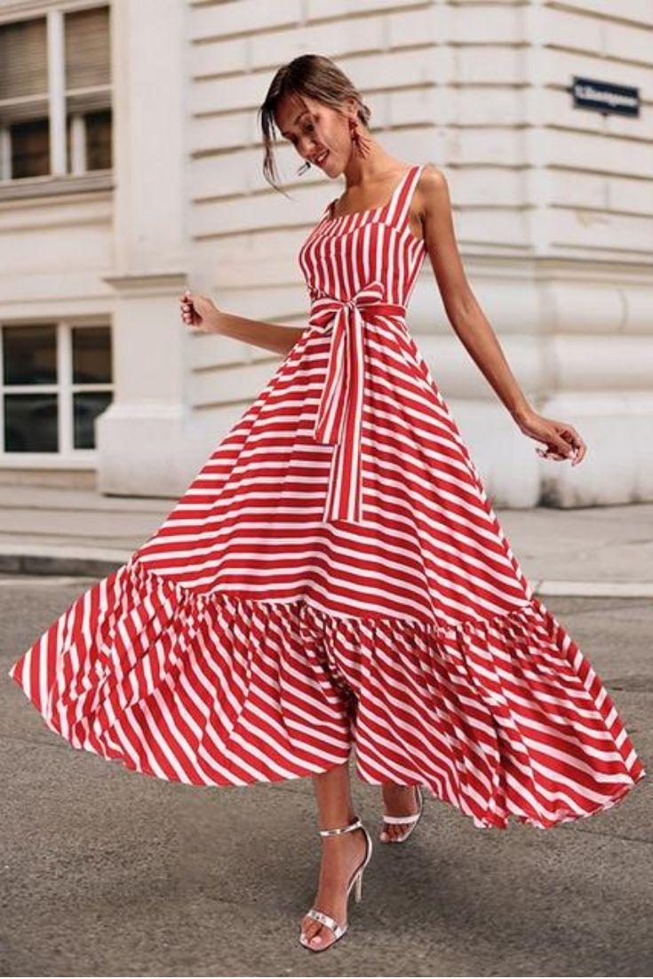 Fashion Striped Summer Dress Red Striped Dress Striped Maxi Dresses Striped Dress Summer [ 1102 x 735 Pixel ]