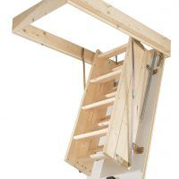 Wooden Folding Attic Loft Stairs And Door With Stair Ladder And Attic  Access Ladder