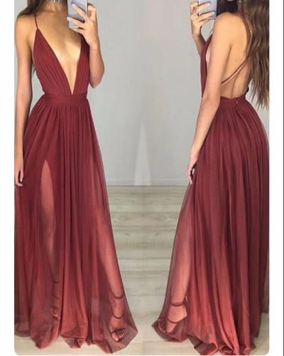 A7-A-line Maroon Chiffon Prom Dresses,Backless Prom Dresses,Simple Long Formal Gowns 2017