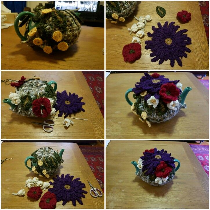 Tea cosy- gerberas, lily of the Valley and poppies