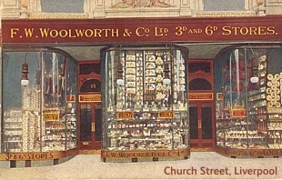 The first British Woolworths store, which opened in Church Street, Liverpool on 5 Nov 1909