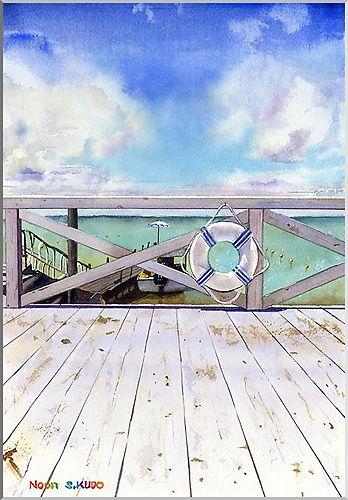 Watercolor Noon 1 Okinawa/水彩画 Noon 1 沖縄の海