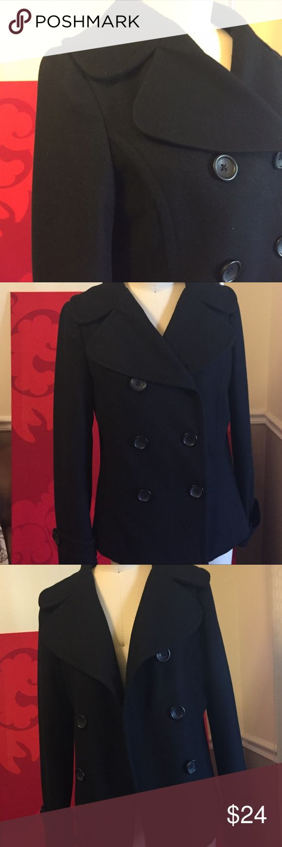 Old Navy Pea Coat Old Navy black wool blend peacoat. Gently pre-loved and in excellent condition. All original buttons/no damage.  Shell - 69% Wool/ 21% Polyester/ 10% Nylon Lining - 100% Polyester Old Navy Jackets & Coats Pea Coats
