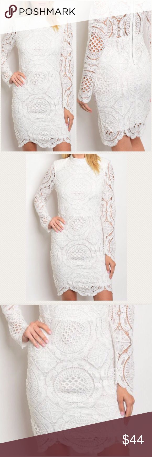 """Off White Lace Dress Ultra feminine off white crocheted dress, lined, high neck and zippered back, very slimming fit. Beautiful dress for a fun night out, a special occasion or beach wedding. Fits true to size. NWT.   100% Polyester.   Small: L: 37"""" B: 32-36""""  👗Only 1 left! 👗 Medium: L: 38"""" B: 34""""-38""""  Large: L: 39"""" B: 36""""-40"""" Dresses Mini"""