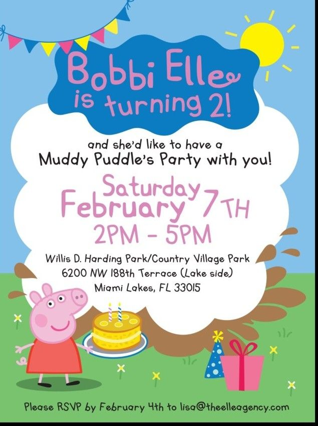 Bobbi Elle Turns Two With A Peppa Pig Party Themed Birthday Invite