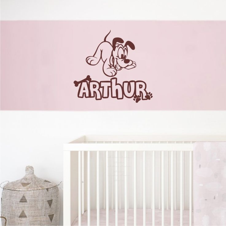 Personalized Custom Name Pluto Puppy Wall Decal Vinyl Sticker Decal Removable wall decal sticker ready to install custom made wallineed.com