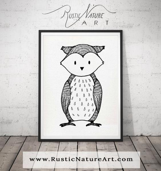 Black and White Owl Wall Art Print - Woodland Nursery Decor for Modern Minimal home. Rustic Nature Art