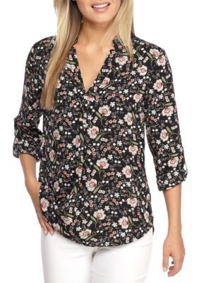 Kaari Blue™ Women's Print Roll Sleeve Blouse - Coral Floral - Xl