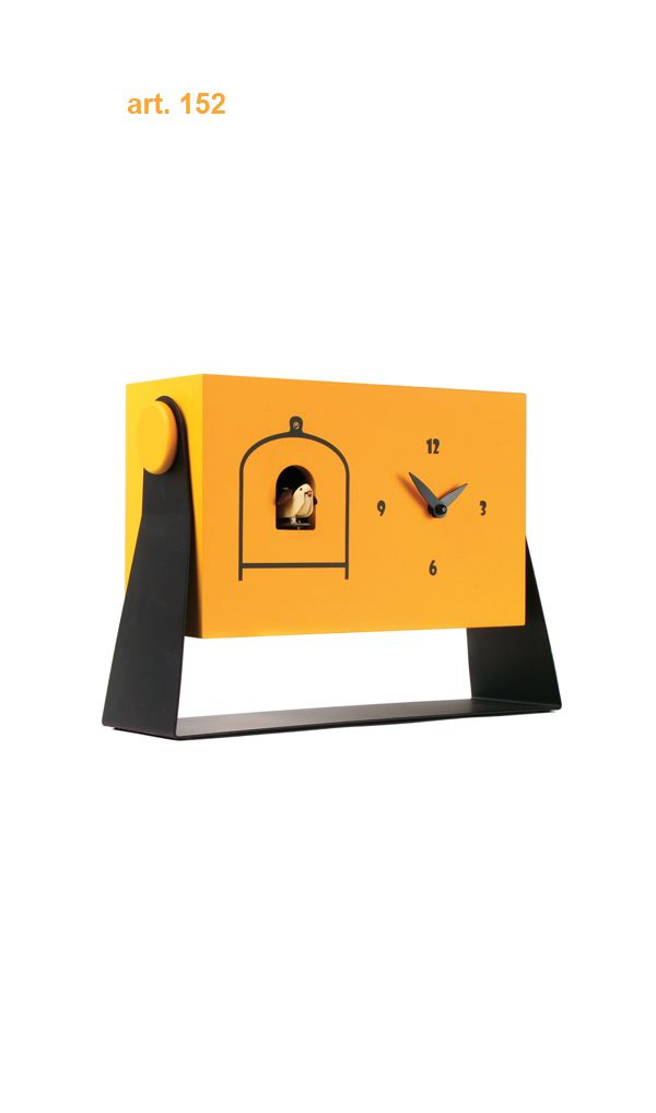 Art #152 - Bright yellow contemporary tabletop cuckoo clock - http://momentoitalia.com/tutti%20file/immagini/accessori/modern-cuckoo-clock-design-italian/modern-cuckoo-clock-design-G%20(3).jpg