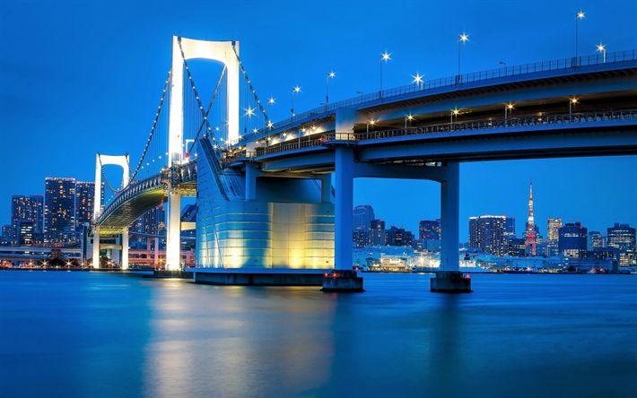 Lataa kuva Tokio, Rainbow Bridge, Riippusilta, Illalla, Kaupungin Valot, Tokyo Bay, Japani