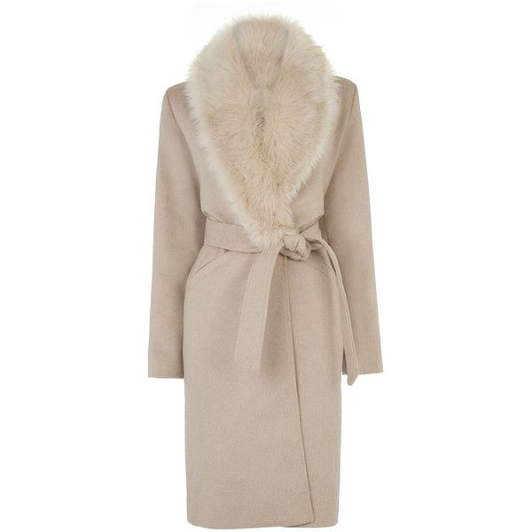 Warehouse Faux Fur Collar Belted Coat (10.760 RUB) ❤ liked on Polyvore featuring outerwear, coats, brown, fake fur coats, brown coat, belt coat, pink faux fur coat and coat with belt