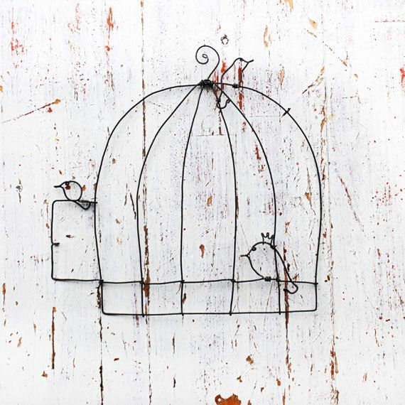 wire cage and birds